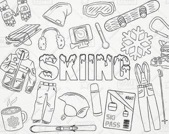 Doodle Skiing Vector Pack, Snowboard Clipart, Winter Clipart, Ski Clipart, Winter Graphics, Skiing Vectors, Winter Stickers, SVG, PNG file