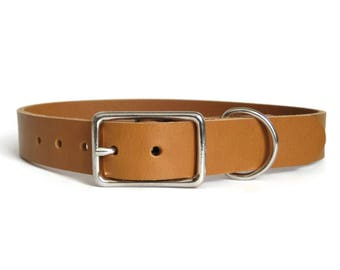 """Leather Dog Collar Tan 1"""" Wide for Medium & Large Dogs Handmade in USA"""