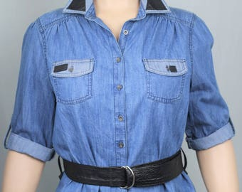 Upcycled denim and leather belted longline shirt UK16/18