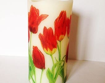 Red Tulips LED candle