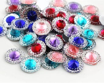 Lot 40pcs 12mm Mixed Color Flat Back Resin Cabochons Cameo high quality