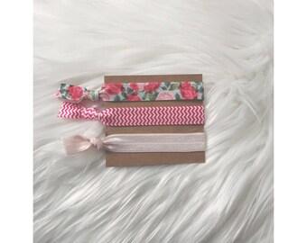 PINK FLORAL Elastic Hair Tie Set