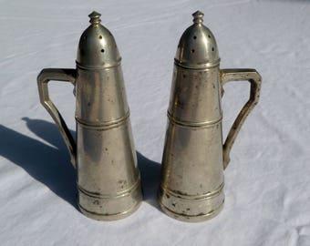 vintage peerless pewter salt and pepper shakers with screw top
