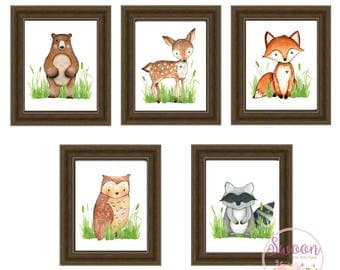 Boy Woodland Nursery, Deer Bear Fox Raccoon Owl, Woodland Animals, Woodland Nursery, Woodland Nursery Prints, Baby Boy Woodland Nursery