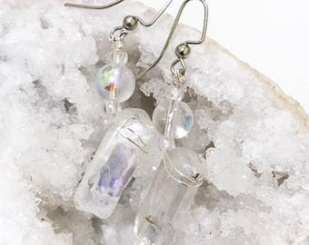 ASTRAL CANDLES Angel Aura Quartz points earrings iridescent and magick made from natural quartz