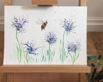 Original watercolour painting - A4 Cornflower Meadow and a Bee - Blue wild flowers
