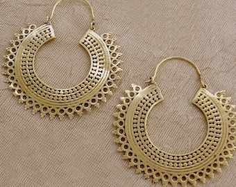 Tribal Hoop Earrings, Tribal Design, Brass Earrings, Ethnic Earrings, Gypsy Earrings, Boho Earrings, Festival Jewelry, Handmade Jewelry