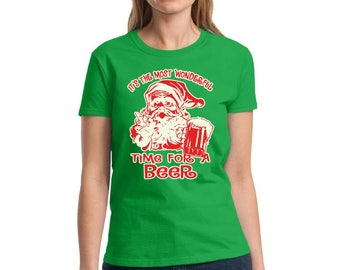 It's The Most Wonderful Time For A Beer Shirt Ugly Christmas Shirt Ugly Christmas t-shirt Women's Holiday Top Christmas Shirts for women
