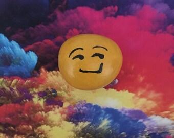 Smirk Emoji Handpainted Rock Refrigerator Magnet /Garden Accent