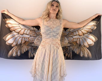 Fairy wings Silk Scarf Adult fairy wings Silk scarf Fairy wings adult Silk scarf Brown Scarf Silk