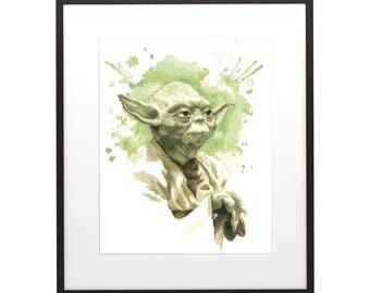 Star Wars 2 Cross Stitch  Pattern , PDF pattern ** instant download**, Yoda cross stitch sampler Watercolor cross stitch Modern home decor