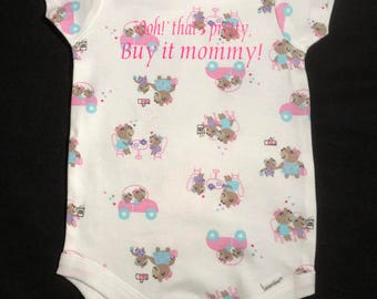 """12 months girl onesie, """"Ooh!"""" that's pretty! Buy it mommy!"""