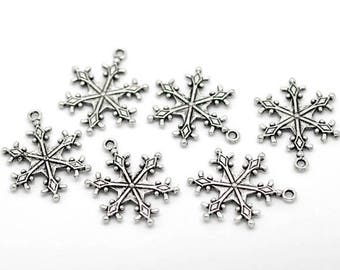 Charm large silver color snowflake
