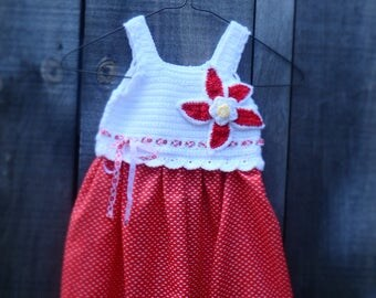 Hand made Crochet Dress, red and white dress, age 5
