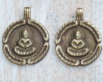Sitting Buddha Brass Amulet Pendant