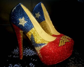 Customised Wonder Woman inspired shoes, cosplay, superhero, comic con and other designs to order