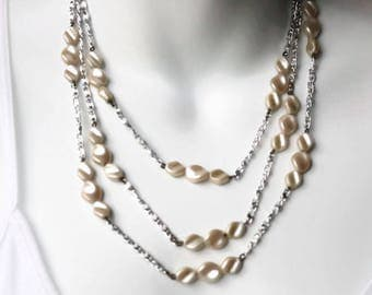 Long triple strand vintage glass pearl necklace signed west Germany, white and silver glass pearl multistrand necklace, bridal necklace