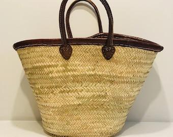 Cannes - Plain Leather Trim Basket