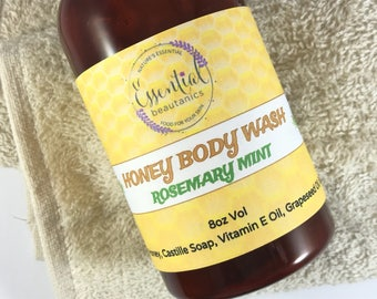 Rosemary Mint Body Wash | Honey Body Wash  | Mint Body Wash | Gift For Him | Mint Shave Soap | Valentines Gift | Rosemary Liquid Soap