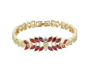 14K Gold Filled Flower-Chain Bracelet with Dark Red Leaf and Stone Design