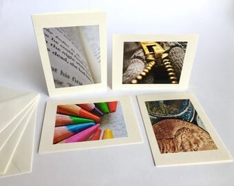 Note cards - greeting cards - handmade - set of 4 - Objects