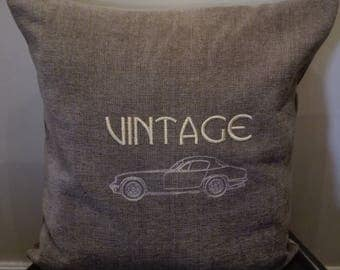 Cushion , Brand new, machine embroidered, detailed drawing of Lotus car, Hand Made UK