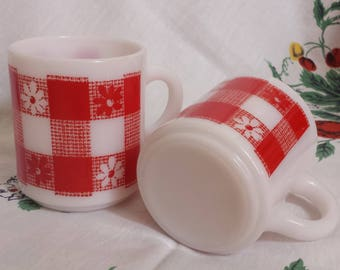 Milk Glass Red Gingham Picnic Tablecloth Mug