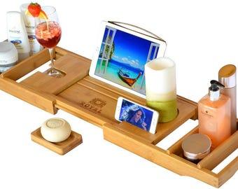 ROYAL CRAFT WOOD Bathtub Caddy, Bamboo Shower Bath Tub Tray Organizer