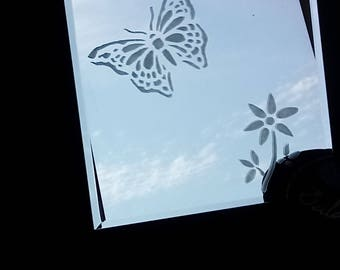 Bella the Butterfly Etched Mirror