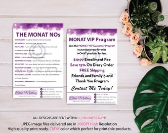 Monat Care No Ingredients, Monat VIP Program, Monat Marketing Card, Fast Free Personalization, Custom Monat Cards, Printable file MN07