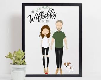 Custom family print, personalised family portrait, family print, family gift