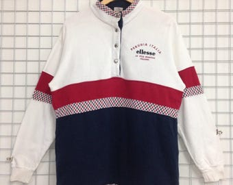 Vintage Ellesse Perugia Italia Sweatshirts Half Button Embroidery Logo Nice Design