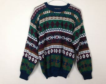 90s patterned knit sweater size S/M