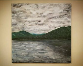 Cloudy Mountain Landscape Painting of Upstate New York