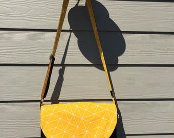 Yellow and black thick cotton shoulder Messenger bag