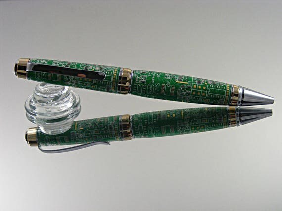 Cigar Ink Pen in 24K/Chrome and Green Circuit Board