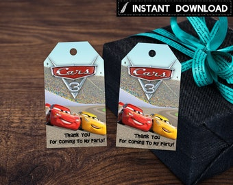 Instant Download - Cars 3 Thank You Tag Lightning Mcqueen Cruz Ramirez Race Cars Birthday Party Favor Tags Printable DIY - Digital File
