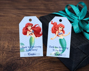 Personalized Princess Ariel The Little Mermaid Thank You Tag Gift Favor Tags Favors Gifts Birthday Party Printable DIY - Digital File