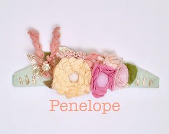 Penelope Flower & Butterfly Crown l Felt Flower Headband l Garden Party l Tea Party l Hippie Headband l Girl Birthday Crown
