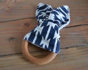 Wood Teether l Bunny ear teether l Modern baby l Minimalist Baby toy