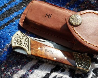 Personalized Knife,Engraved knife Custom Hand Made Forged Damascus Steel Hunting Bowie Knife Leather Sheath