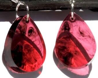 Rich Red Translucent Resin Swirl Teardrop Earrings