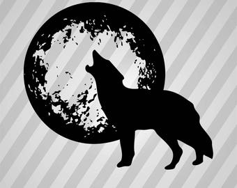 Wolf with Moon - Svg Dxf Eps Silhouette Rld RDWorks Pdf Png AI Files Digital Cut Vector File Svg File Cricut Laser Cut