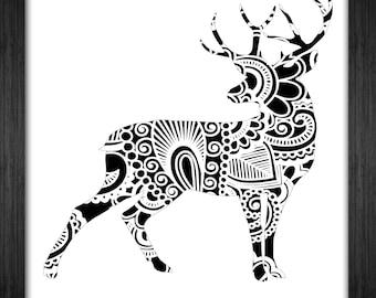 Deer Papercut Template Mandala Henna - Svg Paper Cut Templates Stencil Line Art Pdf Cut Files Digital Clip Art Drawing