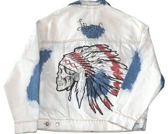 Skull denim hand-painted jacket