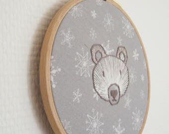 White bear embroidery
