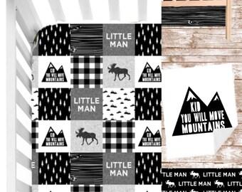 Black and White Plaid Nursery Set//Moose Nursery Bedding Set// Modern Rustic Baby Bedding