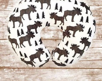 Moose Boppy Pillow Cover Replica// Moose Nursing Pillow Cover// Moose Nursery