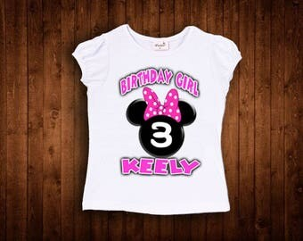 insipred by hot pink bow minnie mouse birthday shirt