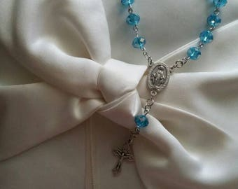 Blue crystal one decade car rosary with Miraculous Medal center